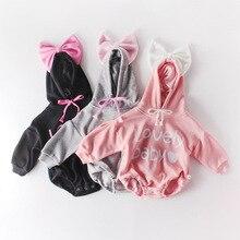 ملابس للأطفال حديثي الولادة موديل 2020 بقلنسوة عليها حروف طويلة من القطن ومزينة بأكمام من الكشمير ملابس فضفاضة لفصل الخريف والربيع للأطفال رومبير للأطفال في سن الحبو