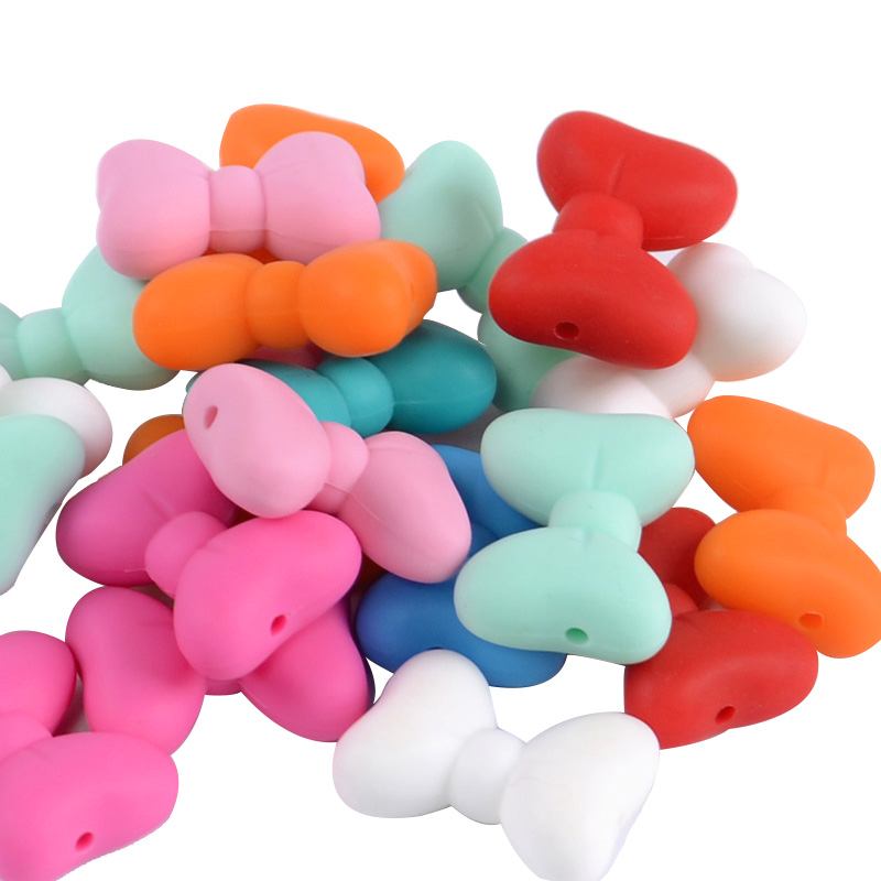 5Pcs Silicone Beads Food Grade Butterfly Knot Shape Silicone Baby Teething Products Chews Pacifier Chain Beads Baby Teethers Toy