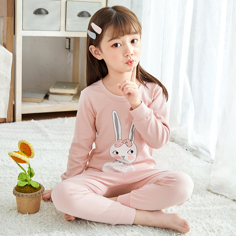 Kids   Pajamas     Sets   Girls Rabbit Pattern Night Suit Children Cartoon Sleepwear Pyjamas kids Cotton Nightwear 2-13Y Teens Clothes