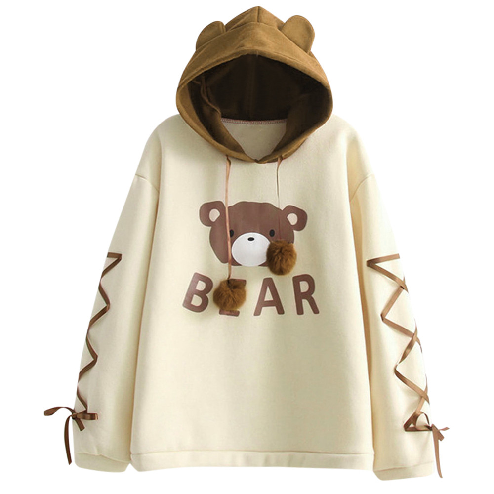Kawaii Hoodie Women Wear A Bear Cap Sweatshirts Crop Top Hoodie Long Sleeve A Ribbon Hair Ball Cute Hoodies Streetwear Moletom