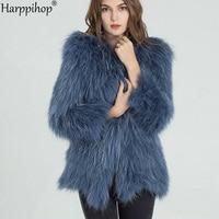 2019 autumn and winter new braid hair raccoon fur coat female long section fur coat young fashion 75cm long