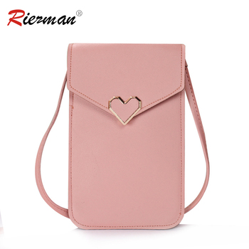RIEZMAN Women Touch Screen Mobile Phone Bags Fashion Small Handbag Purse Female Lock Leather Shoulder Bags Mini Messenger Bag image