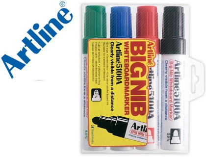 MARKER ARTLINE SLATE EK-5100 COLORS ASSORTED-ROUND TOE 5 MM PETACA 4 COLORS BLACK BLUE GREEN RED