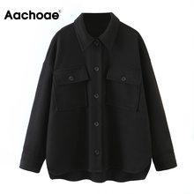 Black Coat Jacket Office-Wear Irregular Long-Sleeve Aachoae Women Hem Casual Loose Tops
