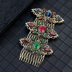Sunspicems Vintage Turkish Crown Hairwear Hair Combs Headdress for Women Retro Gold Color Boho Ethnic Flower Jewelry Bride Gift