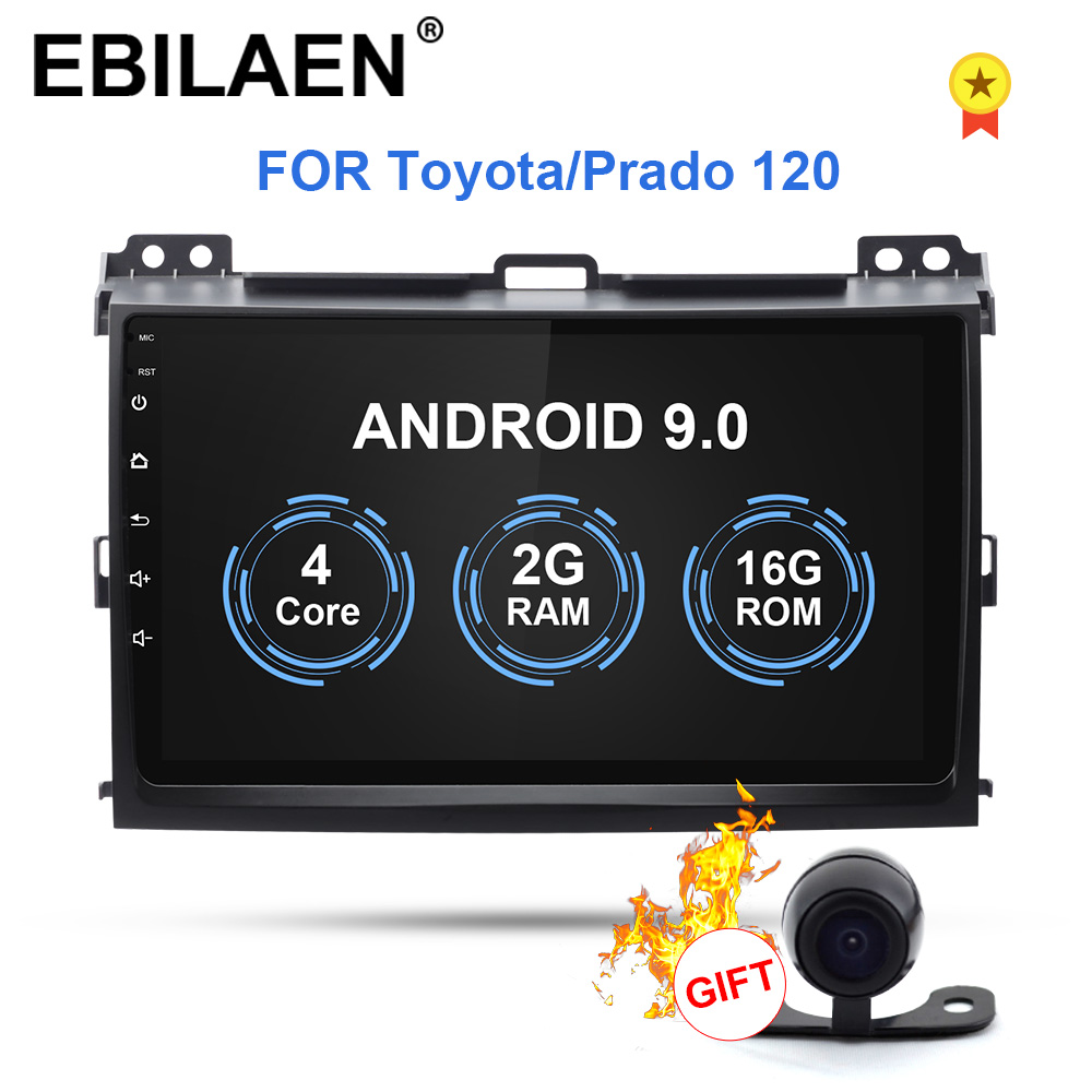 EBILAEN Android 9.0 Car Multimedia For Toyota Land Cruiser Prado 120 2004-2009 2Din Radio Cassette Player Navigation GPS