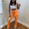 Женские брюки-карго HAOYUAN, эластичные леггинсы с высокой талией, расклешенные брюки-карго с рюшами, осень 2020