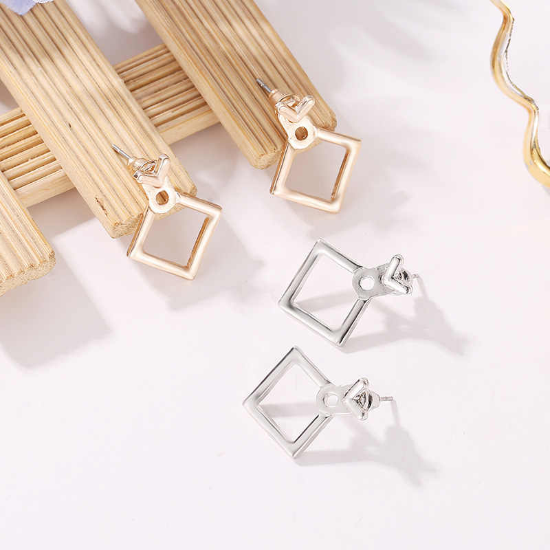 פאנק אופנה חדש עגילי אישיות אופנה פשוט Creative גיאומטרי חלול משולש תיבת Wild נשים של עגיל תכשיטים