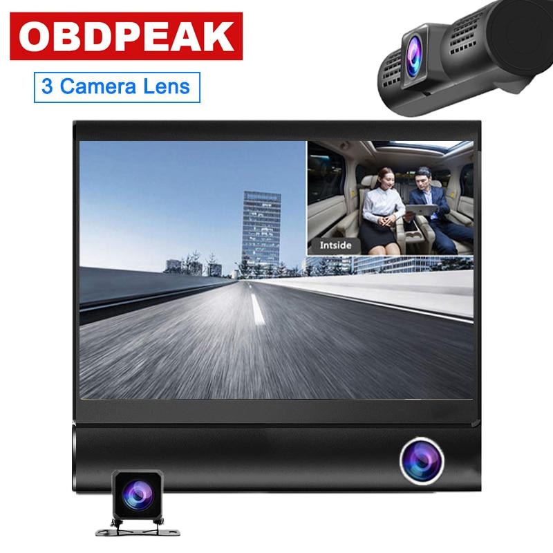 Car DVR 3 Cameras Lens 4.0 Inch Dash Camera 1080P Dual Lens With Rearview Camera Video Recorder Auto Registrator Dvrs Dash Cam
