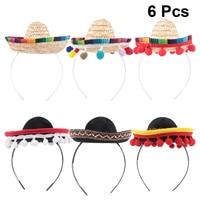 Mini diademas de Sombrero mejicano para el cabello, tocado de Festival, accesorios de actuación, recuerdos de fiesta, 6 uds.