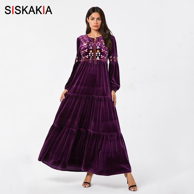 Siskakia velours décontracté balançoire longue robe violet Floral brodé Maxi robes gland cordon O cou manches bouffantes vêtements eau