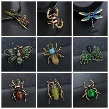Broche de abejorro de insectos de Terreau para mujeres y hombres joyería de abeja broches de esmalte amarillo de Color dorado diamante libélula joyería