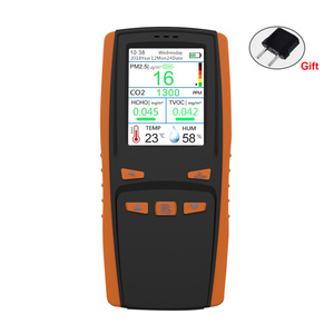 CO2 PM2.5 Gas Detector HCHO Carbon Dioxide Formaldehyde PM 2.5 TVOC Handheld LCD Display AQI Air Quality Detector Dust Home