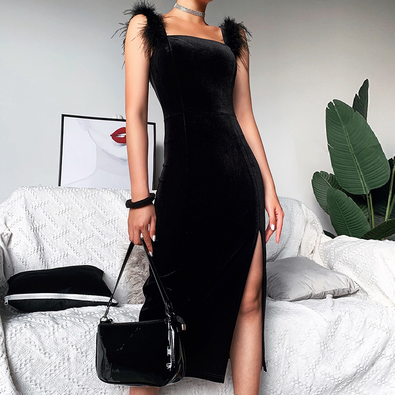 Woman Pencil Dress Bodycon Sexy Vestidos Mid-calf Dress For Party Trend 2020 Square Collar Side Slit Dress