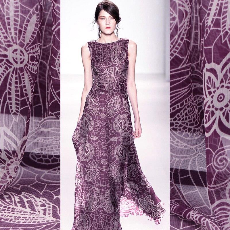 135CM Beadth Five-petaled Natural Silk Georgette Fabric Summer Skirt Silk Scarf Handmade Diy Fabric