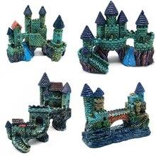 Aquarium Accessories Decoration Resin Cartoon Antique Castle Fish Tank Ornaments Rock Cave Building Landscaping Decor