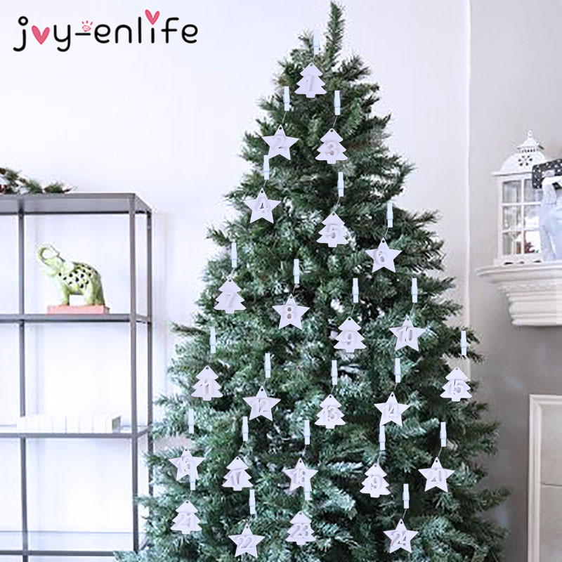 24pcs Christmas Wooden Calendar Pendant Xmas Tree Hanging Ornaments Cards DIY Star Tree Advent Calendar Navidad 2019 Natal decor in Pendant Drop Ornaments from Home Garden