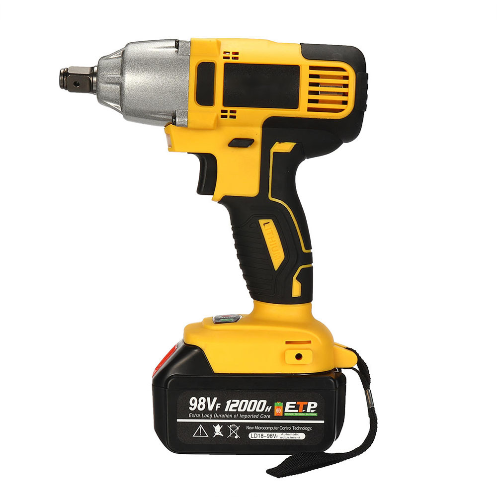 Drill Wrench 240V Electric With 320Nm TWO 98VF 110 ALLSOME Batteries Impact Screwdriver 12000mAh Cordless