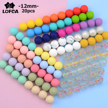 LOFCA 12mm 20pcs/lot Silicone Loose Beads Teething Beads DIY Chewable Colorful Teething For Infant Baby Teether Round