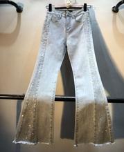 Spodnie Flare dla kobiet 2020 wiosna lato nowe ciężkie dżetów wysokiej talii Slim dziewięć spodnie jeansowe damskie spodnie dżinsowe tanie tanio SDANLERB COTTON spandex Kostki długości spodnie Pani urząd Zmiękczania Wysoka Przycisk fly Kieszenie Zgrywanie Spodnie pochodni