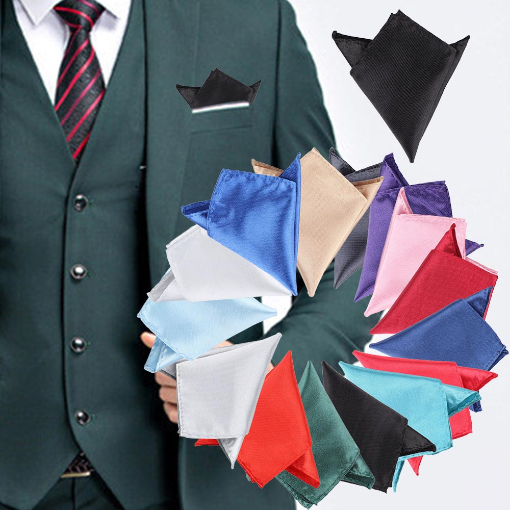 Solid Color Vintage Fashion Party High Quality Men's Plain Handkerchief Groomsmen Men Pocket Square Hanky Wedding Business