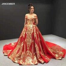 J67025 jancember 이브닝 가운 2020 빨간색 아가씨 어깨 짧은 소매 패턴 레이스 여성 이브닝 드레스 abend kleider