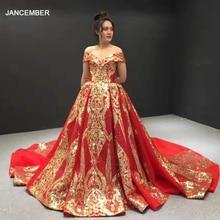 J67025 jancember ערב שמלות 2020 עם אדום מתוקה כבוי כתף קצר שרוול דפוס תחרה נשים שמלת ערב אבנד kleider