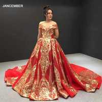 J67025 jancember evening gowns 2020 with red sweetheart off shoulder short sleeve pattern lace women evening dress abend kleider