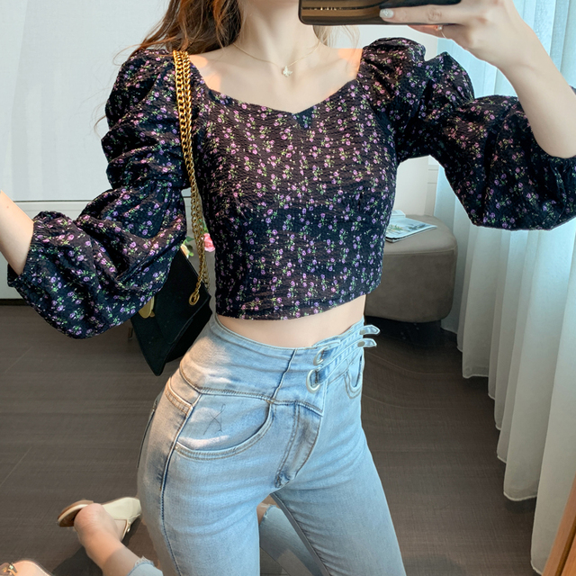 Women Tops Autumn New 2020 Retro Puff Sleeve Floral Printed Chiffon Shirt Cropped Top Shirts Square Collar Short Women Blouses 2