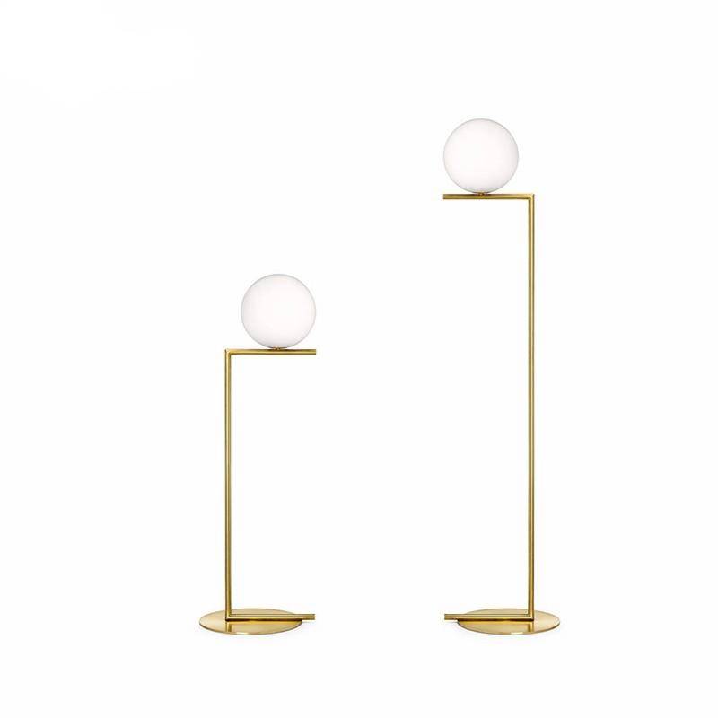 Lampadaire boule Led moderne lampadaire luxe glod lampadaire verre blanc lampe sur pied salon chevet Deco éclairage sur pied - 6