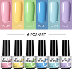 LILYCUTE 4/6 Pcs Gel Nail Polish Set 112 Color Glitter Semi Permanent Hybrid Gel Varnish Base Top Coat Soak Off UV LED Nail Art