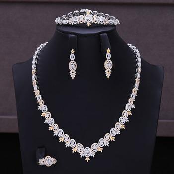 SISCATHY Famous Brand Flower Lariat Chokers Luxury Nigerian Dubai Jewelry Sets For Women CZ Zircon Wedding Bridal Jewelry Sets