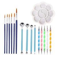 Diy conjunto de ferramentas caneta pintura bandeja de cerâmica ferramenta de arte do prego crianças artesanato pintura desenho mandala estêncil ferramenta
