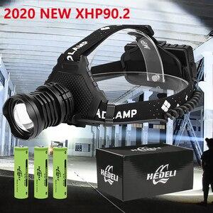 2020 Новинка XHP90.2 налобный фонарь XHP90 светодиодный налобный фонарь 18650 высокой мощности светодиодный налобный светильник 42 Вт USB Zoom перезаряжа...