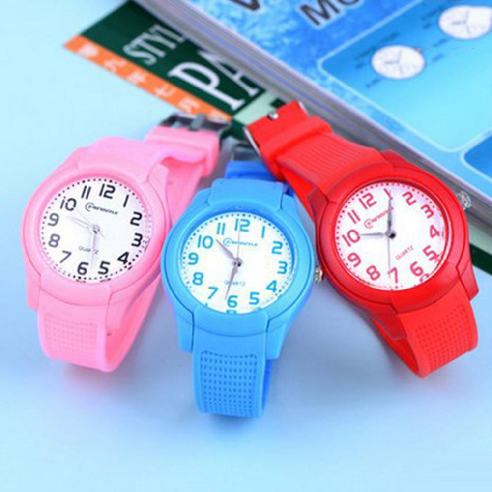 Cute Waterproof Round Dial Soft Silicone Strap Quartz Watch Sport Bracelet For Kids