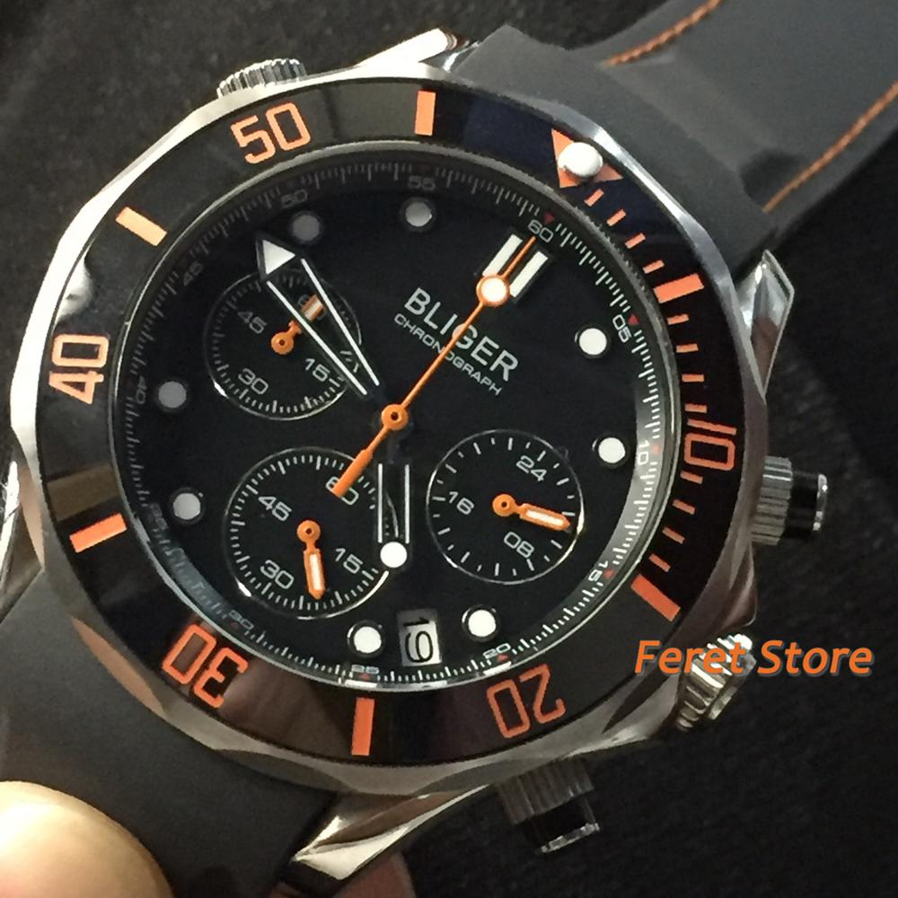 Bliger Nieuwe 41 Mm Zwarte Wijzerplaat Keramische Bezel Silver Case Rubber Strap Saffierglas Chronograph Quartz Heren Horloge-in Mechanische Horloges van Horloges op title=