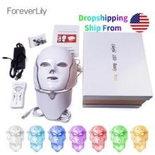 Foreverlily-Maska na twarz LED do terapii fotonowej, 7 kolorów, koreańska, leczenie światłem, na trądzik, piękno, twarz, szyja