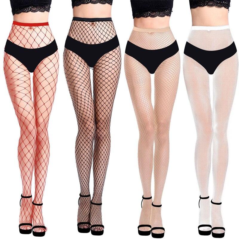Frauen Sexy Transparent Schlank Netzstrumpfhose 2021 Nachtclub Netto Löcher Schwarz Strumpfhosen Oberschenkel Hohe Strümpfe Kleine/Mittlere/Große mesh