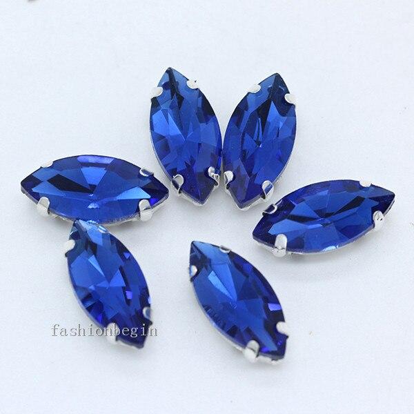 Всех размеров Наветт 24-цветное стекло камень с плоской задней частью, пришить с украшением в виде кристаллов Стразы драгоценные камни бисер с серебряной нитью, бледно-коготь кнопки для одежды аксессуары - Цвет: sapphire