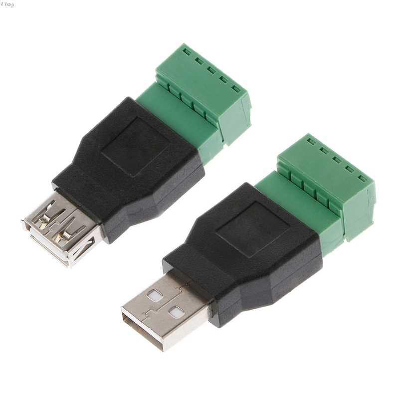 1 Chiếc USB Nữ Để Vặn Cổng Kết Nối USB Cắm Với Lá Chắn Cổng Kết Nối USB2.0 Nữ Jack USB Nữ Để Vặn Vít Nhà Ga l29k