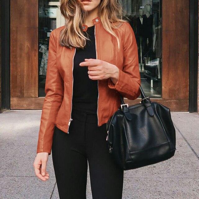 Women's PU Leather Bomber Basic Jacket Coats Autumn Fashion Slim Turn Down Collar Long Sleeve Coats Outwear 12 Colors Options 3