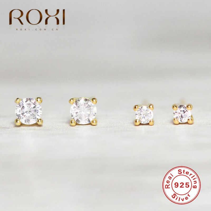 ROXI 100% 925 스털링 실버 클리어 CZ 스몰 스터드 귀걸이 여성용 쥬얼리 미니 귀 뼈 2mm 3mm 네 발톱 지르콘 귀 스터드