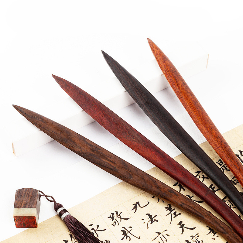 Rosewood Ebony Wood Letter Opener Wood Paper Cutting Knife Retro Paper Cutter Utility Tools School Office Stationery Supplies