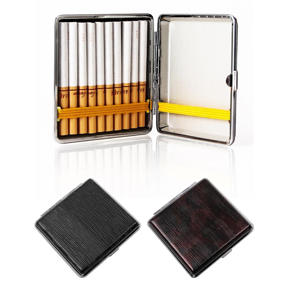 Creative 20 Sticks Leather Cigarette Case With Rubber Band Gift Box Brown Case Holder Metal Leather Holds Cigarette Box