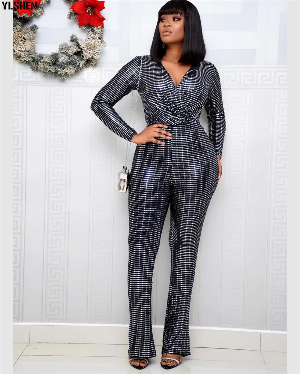 2020 Jumpsuit Africa Clothing African Dresses for Women Elastic Sequins Bodysuit Jumpsuits Overalls Plus Size African Clothes 02