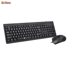 Office Wired Keyboard and Mouse Set Gamer with Ergonomic Computer Waterproof USB for Laptop PC