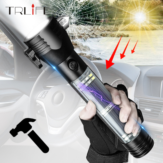 USB Solar LED Flashlight Emergency Light Safety Hammer Recharging Power Bank Outdoors Compass  Survival Tool For Travel Camping 1
