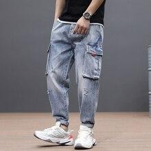 Japanese Style Fashion Men Jeans Loose Fit Light Blue Denim Harem Pants Big Pocket Vintage Designer Wide Leg Hip Hop