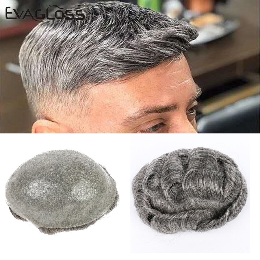 DHL Shipping Raw Indian Hair PU Men Wigs 0.04-0.06mm Thin Skin Men's Toupee Real Human Hair Pieces Double Knot Hair Replacement