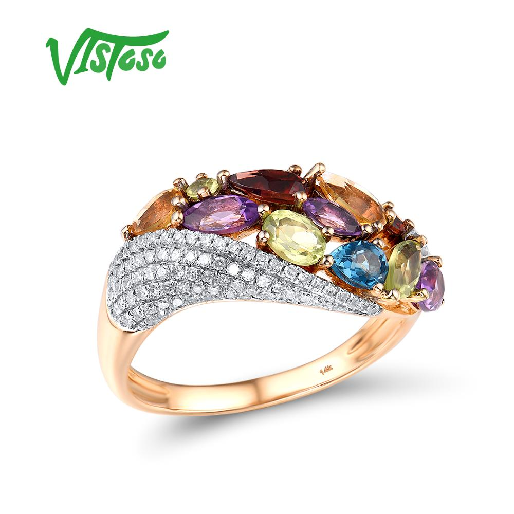 VISTOSO Genuine 14K 585 Rose Gold Sparkling Diamond Fancy Citrine Amethyst Peridot Garnet Blue Topaz Anniversary Fine Jewelry